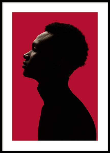 Man Silhouette On Red No1 Poster in de groep Posters / Fotokunst bij Desenio AB (10111)