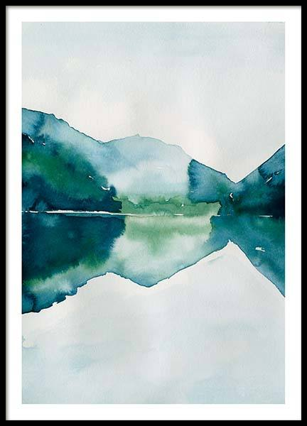 Watercolor Mountain Reflection Poster in de groep Posters / Kunst bij Desenio AB (10123)