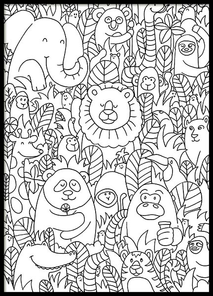 Jungle Friends Poster in de groep Posters / Kinderposters bij Desenio AB (10205)