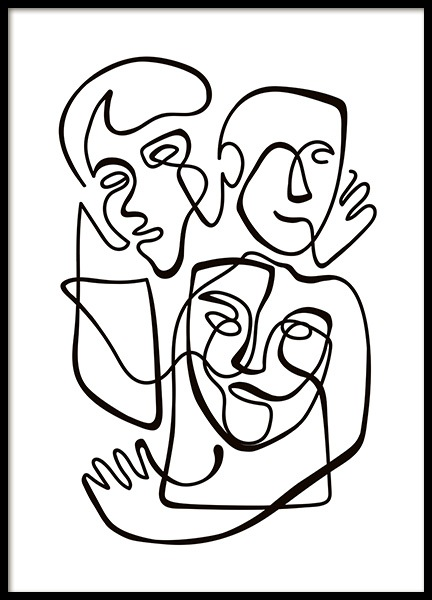 Abstract Line People No1 Poster in de groep Posters / Illustraties bij Desenio AB (10840)