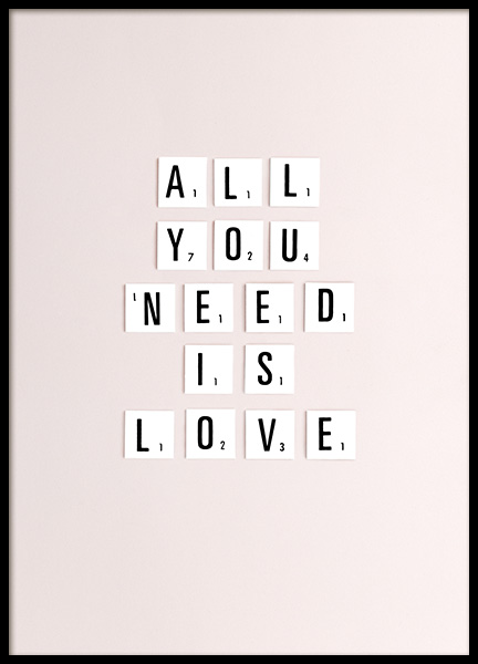 All You Need Is Love Poster in de groep Posters / Posters met tekst bij Desenio AB (10862)