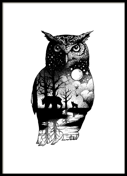 Ink Dot Owl Poster in de groep Posters / Illustraties bij Desenio AB (11418)