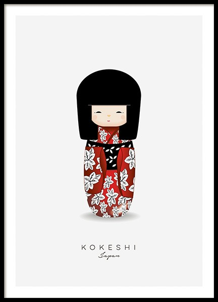 Kokeshi Doll Red Poster in de groep Posters / Kinderposters bij Desenio AB (11454)