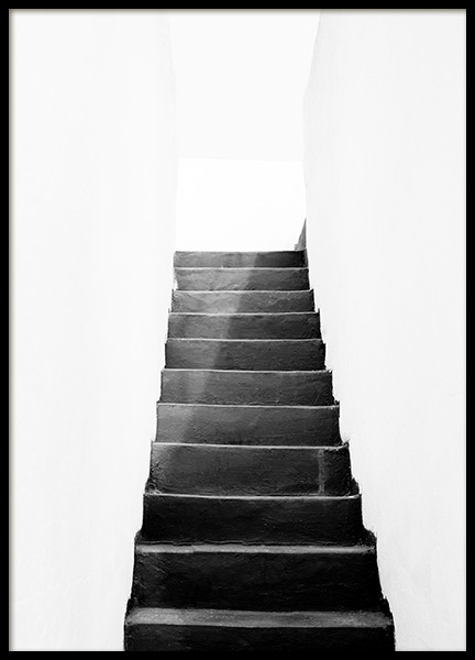 Black and White Stairs Poster in de groep Posters / Zwart wit bij Desenio AB (11484)
