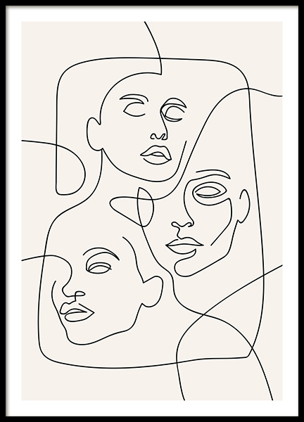The Three Faces Line Art Poster in de groep Posters / Illustraties bij Desenio AB (12506)