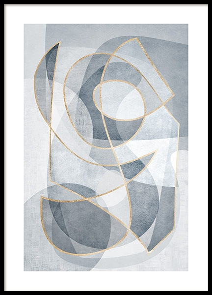 Abstract Blues No2 Poster in de groep Posters / Kunst bij Desenio AB (13121)
