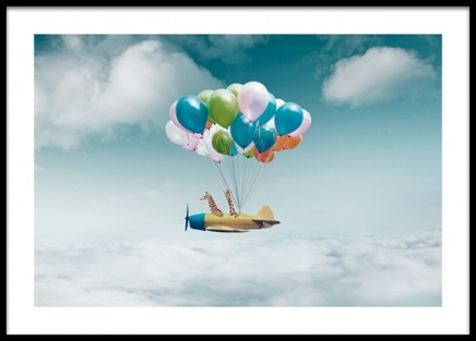 Airplane With Balloons Poster in de groep Posters / Kinderposters bij Desenio AB (14160)