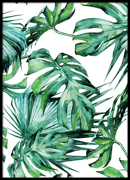 Tropical Leaves Pattern Poster in de groep Posters / Kunst bij Desenio AB (2287)