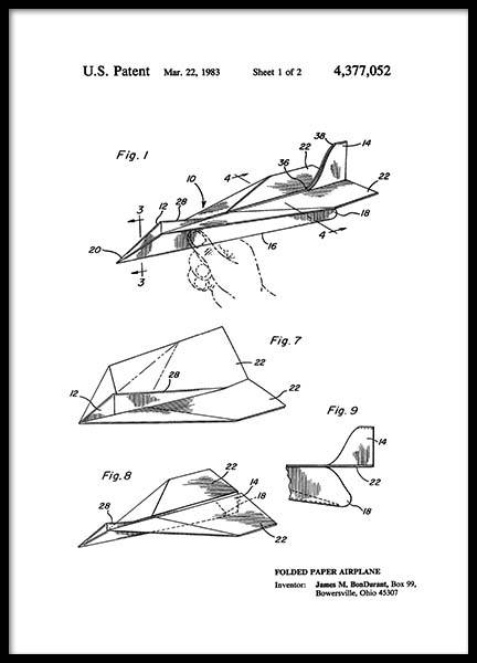 Paper Airplane Patent Poster in de groep Posters / Vintage bij Desenio AB (2347)