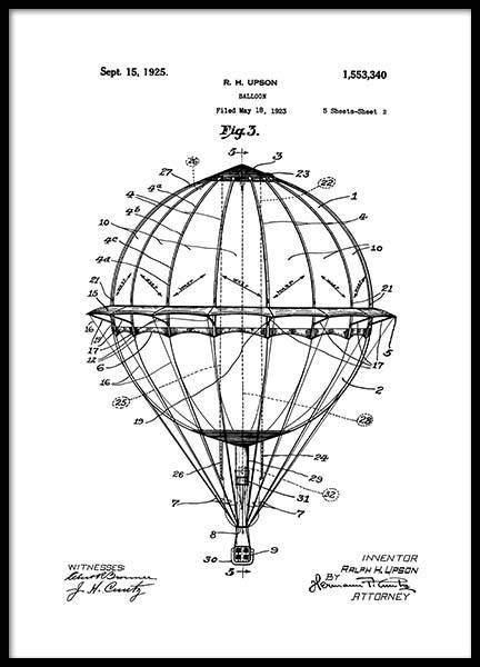 Hot Air Balloon Patent Poster in de groep Posters / Vintage bij Desenio AB (2348)