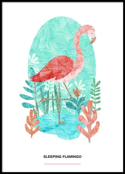 Sleeping Flamingo Poster in de groep Posters / Illustraties bij Desenio AB (2526)