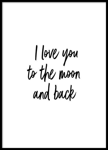 To The Moon And Back Poster in de groep Posters / Posters met tekst bij Desenio AB (2604)