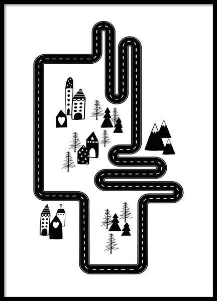 Car Track City Poster in de groep Posters / Kinderposters bij Desenio AB (3118)
