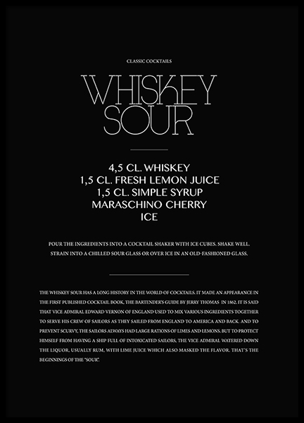 Classic Whiskey Sour Poster in de groep Posters / Keuken posters bij Desenio AB (3624)