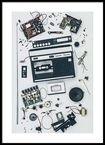 Disassembled Tape Recorder Poster in de groep Posters / Fotokunst bij Desenio AB (3733)