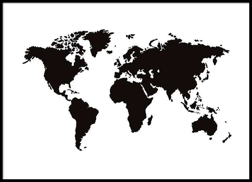 Prints met wereldkaart in zwart-wit. Mooie prints online tegen een ...