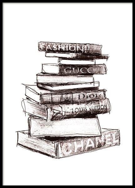 poster met boeken van modehuien gucci dior chanel poster. Black Bedroom Furniture Sets. Home Design Ideas