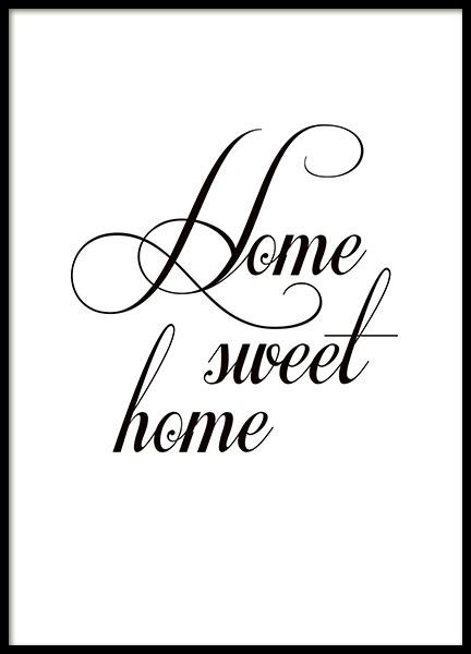poster home sweet home poster met tekst 21x30cm. Black Bedroom Furniture Sets. Home Design Ideas