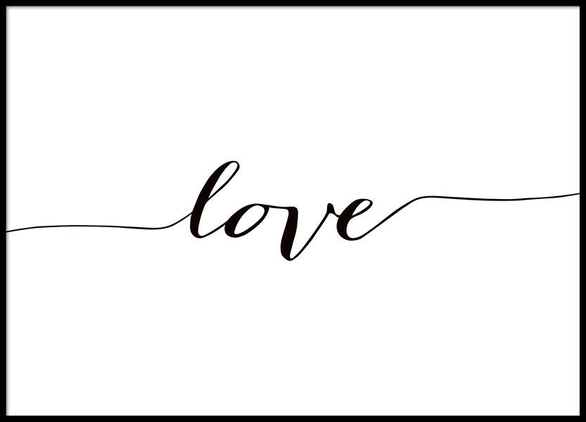 Slaapkamer Zwart Wit Zilver : ... / 30x40cm / Poster met tekst Love in ...