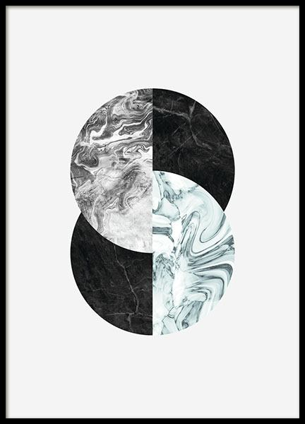 moderne kunst met cirkels marmer grafische poster online. Black Bedroom Furniture Sets. Home Design Ideas