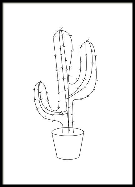 Home / Posters / Afmetingen / 30x40cm / Grafische poster met cactus ...