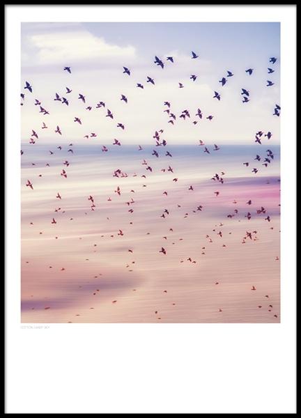 Posters Met Fotokunst Print Met Vogel Tegen Een Roze Hemel