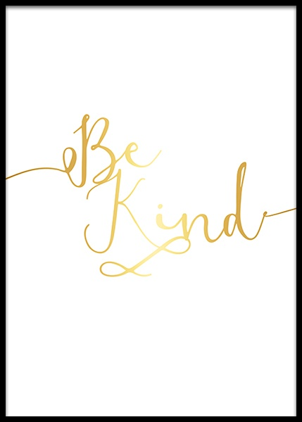 Be Kind, Gold Poster in de groep Posters / Kinderposters bij Desenio AB (8866)