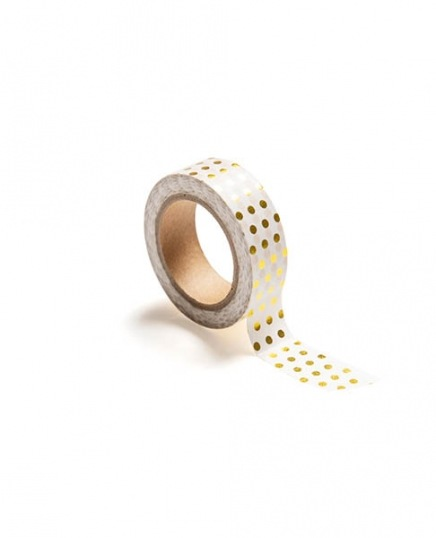 Washi tape, polka dot gold in de groep Accessoires / Washi tape bij Desenio AB (TAPE100173)
