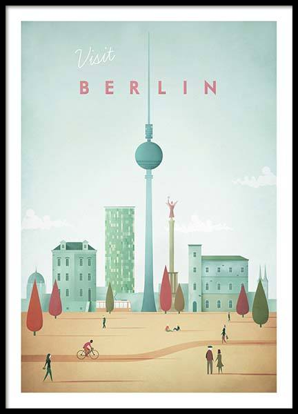 Berlin Travel Poster in de groep Posters / Handpicked / Henry Rivers bij Desenio AB (pre0007)