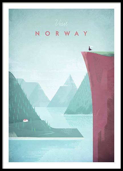 Norway Travel Poster in de groep Posters / Handpicked / Henry Rivers bij Desenio AB (pre0012)