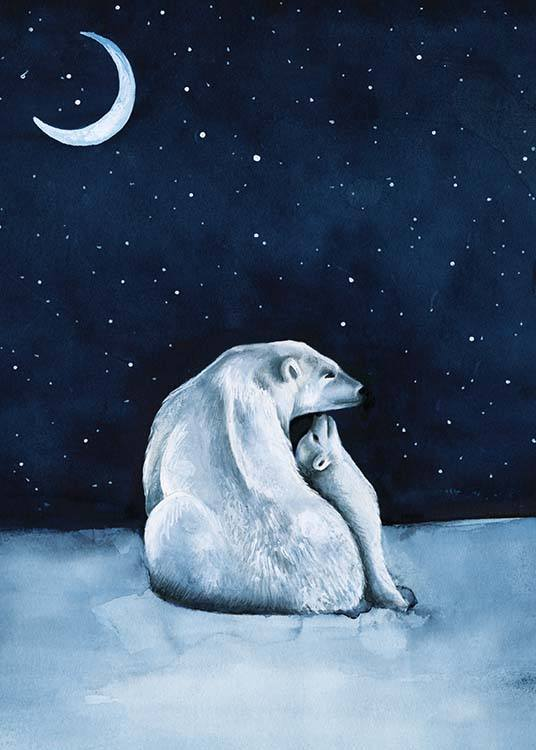 Polar Bear Night Sky Poster / Kinderposters bij Desenio AB (10275)
