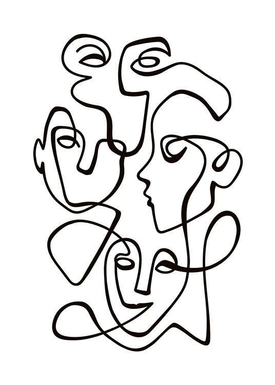 Abstract Line People No2 Poster / Zwart wit bij Desenio AB (10841)