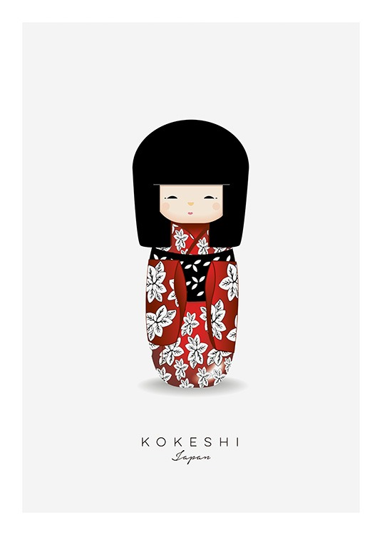 Kokeshi Doll Red Poster / Kinderposters bij Desenio AB (11454)