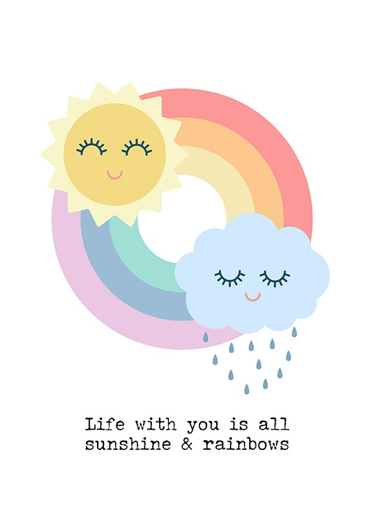 Sunshine and Rainbows Poster / Kinderposters bij Desenio AB (12685)