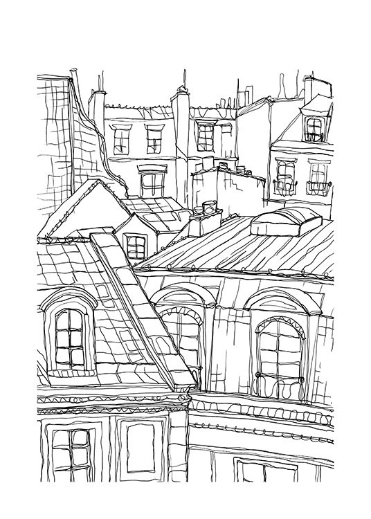 Roof Tops in Paris Poster / Zwart wit bij Desenio AB (12922)