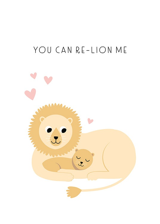 Re-lion me Poster / Cartoon dieren bij Desenio AB (13714)