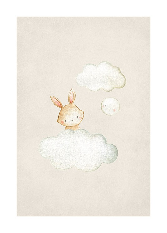 In the Clouds No1 Poster / Cartoon dieren bij Desenio AB (13717)