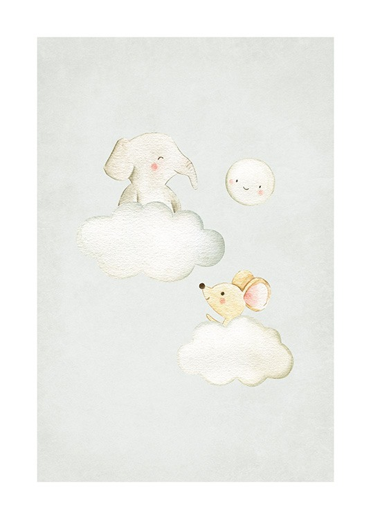 In the Clouds No2 Poster / Cartoon dieren bij Desenio AB (13718)