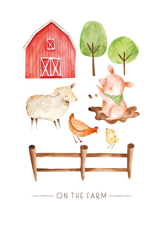 On the Farm No2 Poster / Cartoon dieren bij Desenio AB (13720)