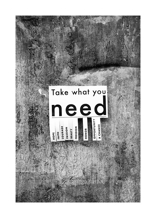 Take What You Need Poster / Posters met tekst bij Desenio AB (13898)