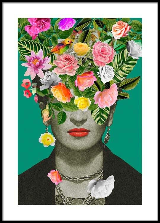 frida floral 1 poster. Black Bedroom Furniture Sets. Home Design Ideas