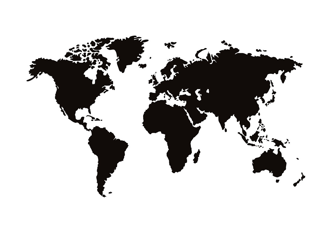 print met zwart-witte wereldkaart | posters met kaarten