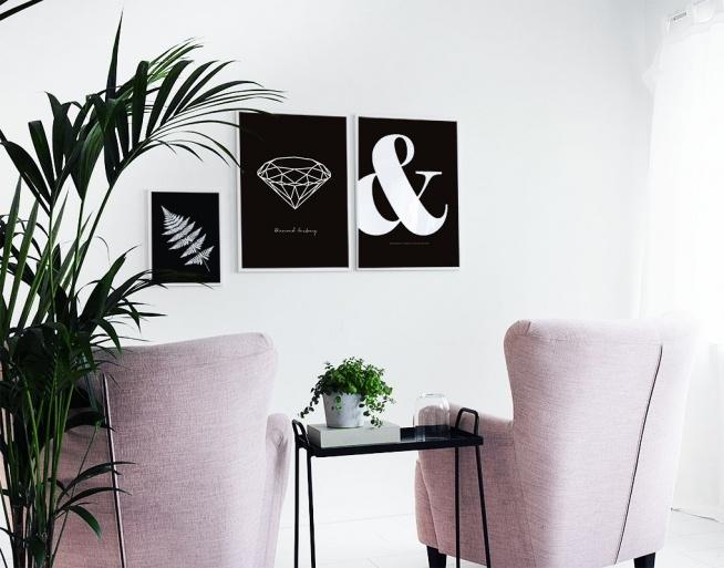 Slaapkamer Zwart Wit Zilver : Diamant poster, print in zwart-wit