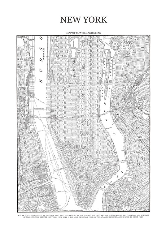 Map Of Manhattan, Poster / Zwart wit bij Desenio AB (7419)