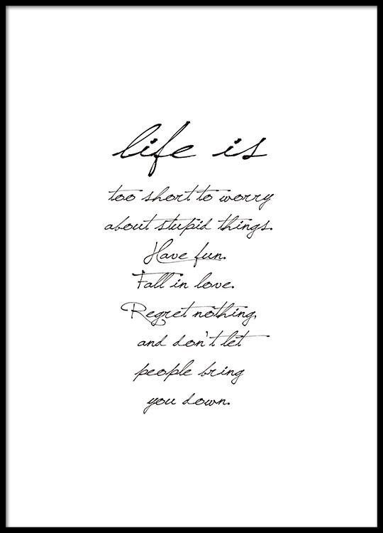 Posters en posters met tekst, Life is too short | Prints met boodschap