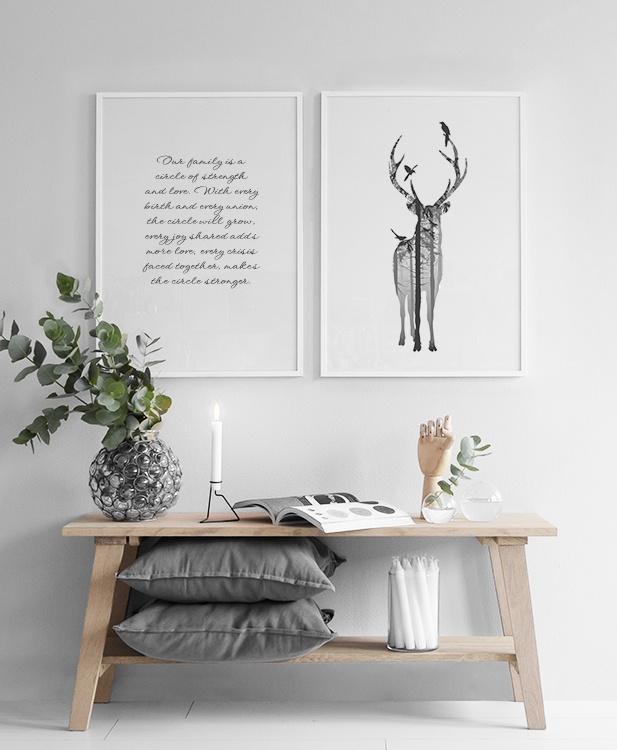 ... idea 7 : Zwart wit poster met hert posters en prints natuur motieven