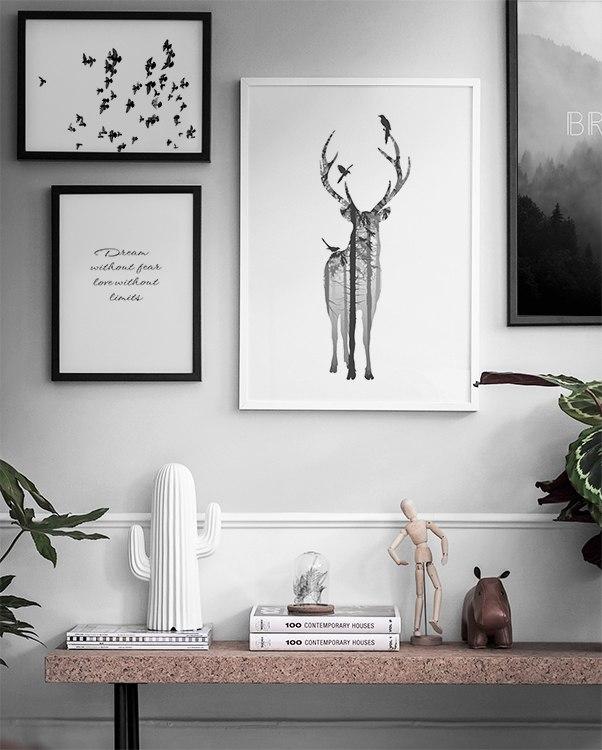 Slaapkamer Zwart Wit Zilver : Zwart-wit poster met hert. Posters en ...