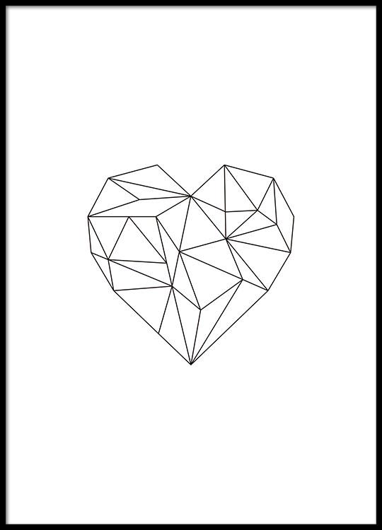 Mooie poster hart met geometrische vormen poster online - Geometrische wandbilder ...