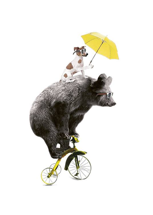 Bear On Yellow Bike, Poster / Kinderposters bij Desenio AB (7830)