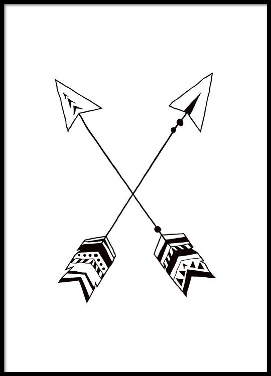 Kinderposter met tent, zwart wit